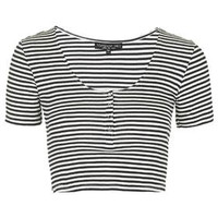 TALL Striped Popper Front Cropped Tee - Cream