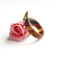 Natural Veiny Brown Color Agate Band Ring 5mm. Stackable Gemstone Ring. Real Agate Ring. Natural Healing Agate Ring.