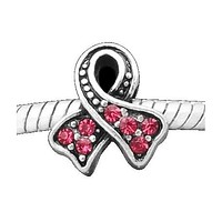 Rose Stones Breast Cancer Awareness Charm Bead