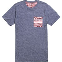 On The Byas Land Shark Pocket Crew T-Shirt - Mens Tee - Blue - Large