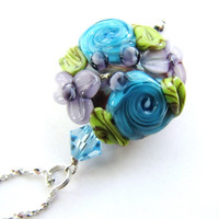 Sculptured Floral Pendant Necklace, Purple Teal Green, Artisan Lampwork Bead, Swarovski Crystals, Fancy Sterling Silver Chain, FREE SHIPPING