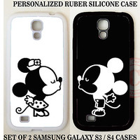 Personalized Love Couple BLACK WHITE Mouse KISS 2 CASES For Samsung Galaxy S7 S6
