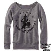 Halloween Witchcraft Academy Off The Shoulder Sweatshirt. Wide Neck. Spell Shirt