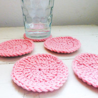 Round Crochet Coasters, Yellow crochet coasters, wedding present, housewarming  gift, fabric lined, cute crochet coasters, granny chic