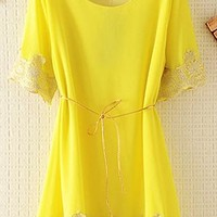 Chiffon Top with Lace Rim with Thin Belt ESDX645 from topsales