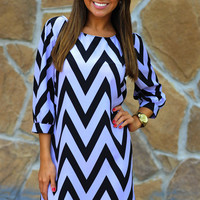 HOPE'S: Cheery For Chevron Dress: Purple | Hope's