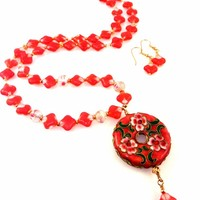 Pink Floral Enamel Cloisonne Pendant Necklace with Rosy Glass Beads and Matching Earrings Set