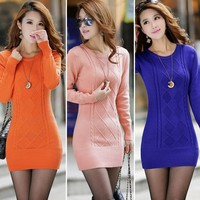New Women Classic Long Knit Casual Long Sleeve Pullover Outwear Tops Sweater