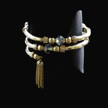 Tassel And Faceted Aurora Borealis Crystal Bead Wrap Bracelet In Gold Tone