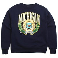University of Michigan Colorful Arch & Seal With Back Wolverine M PM Crewneck Sweatshirt Navy (Large)