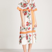 SANDRO - Floral-print silk wrap dress | Selfridges.com