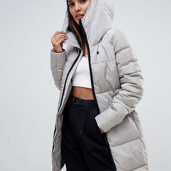 G-Star whistler recycled polyester long line padded coat with hood at asos.com
