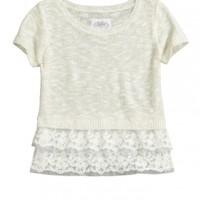 Lace Ruffle Crop Sweater | Girls Sweaters Clothes | Shop Justice