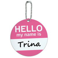 Trina Hello My Name Is Round ID Card Luggage Tag