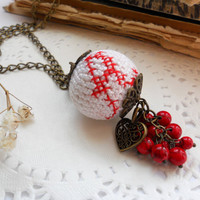 Personalized Necklace - Crochet pendant - Embroidery name signs - Cross stitch and crochet jewelry