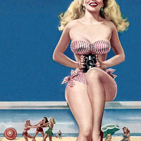 Pin Up Art Blonde In Striped Bikini At The Poster