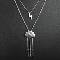 Lightning and Rain Cloud Layered Necklace, Thunder Storm Weather Two Strand Necklace, Raindrops Chain