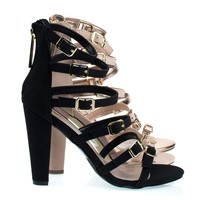Devon22 Black By Breckelle's, Gladiator Strap, Chunky Block High Heel Sandal, Women's Party Shoes