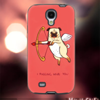 MC12Y,12,i pug love,dog,animal,heart,arrow -Accessories case cellphone- Design for Samsung Galaxy S5 - Black case - Material Soft Rubber