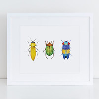 Printable Wall Art Watercolor Bugs / 8 x 10 Watercolor Insect Illustration / Bug Art Print / Bugs Nursery Print / Insect Kids Room Art