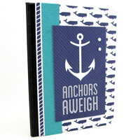 Mini Journal - Nautical Journal - Mini Notebook - Nautical Theme - Anchors Aweigh - Pocket Journal - Navy Blue and Turquoise - Whale Theme