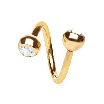 Gold Plated Over 316L Surgical Twist with Gemmed Balls