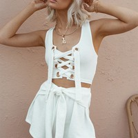 Leighton Lace Up Tank - Tops by Sabo Skirt