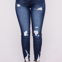 She Gave It All Ankle Jeans - Dark Denim