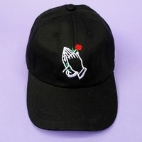 Praying Hands With Rose Cap | Black