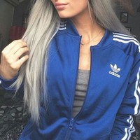 Adidas Women Men Sport Cardigan Coat Casual Jacket Windbreaker Sweatshirt