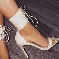 New fish mouth strap sandals with thin heels and extra high heels shoes