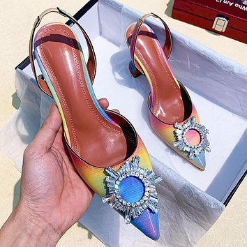 Fashion rainbow women's shoes rhinestone sandals high heels
