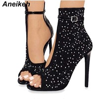 Aneikeh Crystal Sequins Women Pumps High Heels Brand Design Sexy Gladiator Rhinestone Buckle Strap Summer Party Shoes 41 42 43