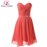 Free Shipping Cute Cheap Chiffon Watermelon Red Knee Length Short Graduation Dresses For Student Sweetheart Party Gown 6297