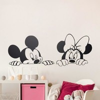 Cartoon Wall Stickers Kids Bedroom Art Decor Cute Mickey Minnie Mouse Baby Nursery Art Vinyl Wall Decals