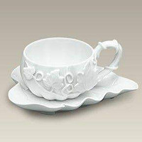 White Fall Pumpkin Tea Cup and Saucer - FREE Pumpkin Spice Tea Included!