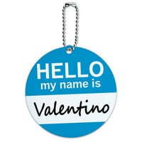 Valentino Hello My Name Is Round ID Card Luggage Tag