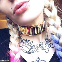 Puddin Leather Collar Choker Steampunk Cosplay For Suicide Squad Harley Quinn PP