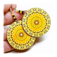Sunny rosette Earrings Mandala Round Summer Fashion, Yellow circles, gift for her under 25 (18)