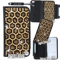 ZEBRA or LEOPARD Crystal Jersey Bling® Faux Leather iPhone 5, 5s Handmade Case Wallet w/Cards & ID Slot & Magnetic Closure (Gold Leopard)