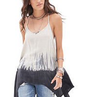 FOREVER 21 Dip Dyed Trapeze Cami Cream/Dark Blue