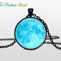 Moon Pendant  Full Moon Necklace Space  Galaxy  Moon  Jewelry Necklace for men  Art Gifts for Her