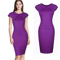 Women's Scoop Neck Fitted Short Sleeve Purple Summer Offical Midi Bodycon Sheath Dress = 1956830404