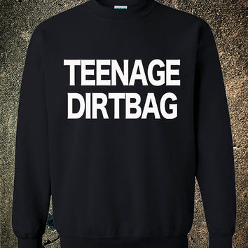 Teenage Dirtbag One Direction 1D Hipster Crew Cool Black Red White sweatshirt