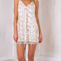 Sexy V L Sequin dress fringed collar dress