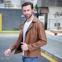 Men's Leather Coats Motorcycle Jackets Cardigan