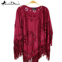 Montana West Laser-Cut Geometric Design Poncho  in Four Colors MWH PCH-1615