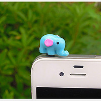 Gift for Him 1PC Cute Animal Blue Resin Elephant Cell Phone Earphone Stopper Antidust Plug Charm for iPhone  4s,5,5c,5s, Samsung, HTC, Nokia