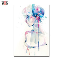 Elegant Girl Pictures Watercolor Paintings Abstract Wall Art Simple Canvas Art Print Poster Cuadros Decoracion Christmas Gift