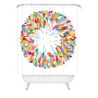 Sharon Turner Fizzy Feathers Shower Curtain